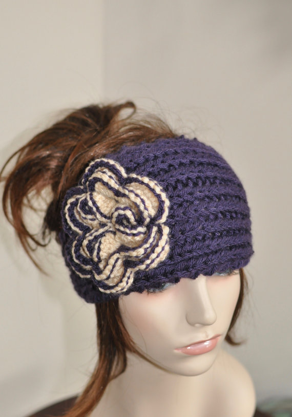 Universidad de Washington sombrero ganchillo flor diadema | Crochet ...