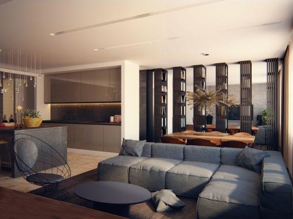 Salon moderne design en 47 idées par Alexandra Fedorova Interiors - salon sejour cuisine ouverte
