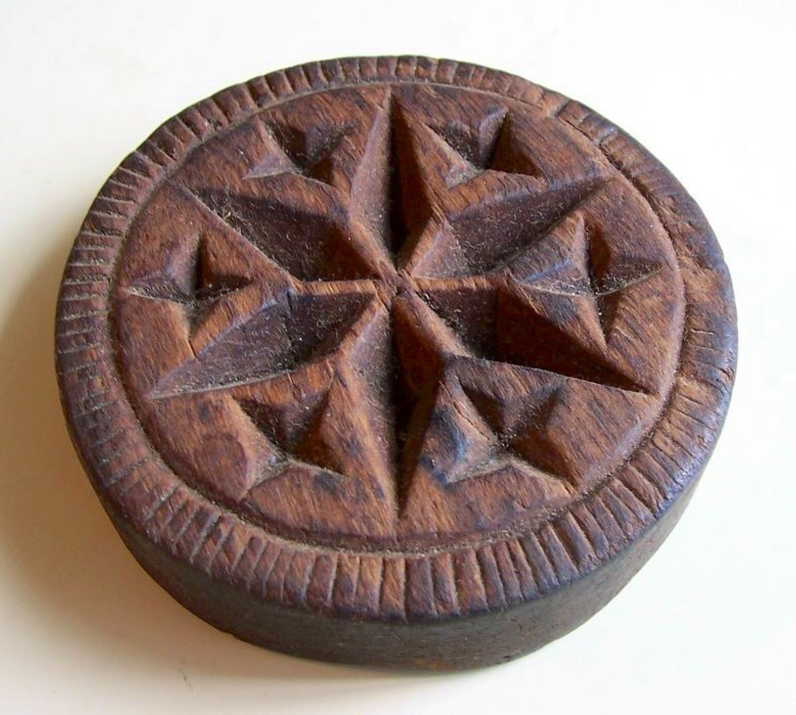 Early Hand Carved Butter Print In The Early Disc Form With