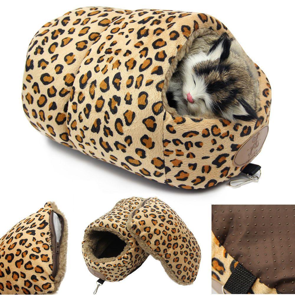 Soft Fleece Leopard Cat Kitten Bed House Warm Sleeping Mat
