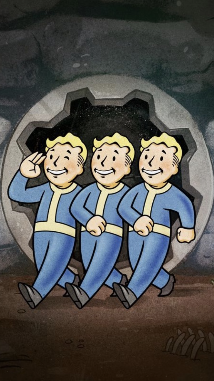 This Is A Wallpaper For Ios It Was The Mural From The Hotel Figueroa Promoting Fallout 76 At E3 Boys Posters Vault Boy Fallout Vault Boy