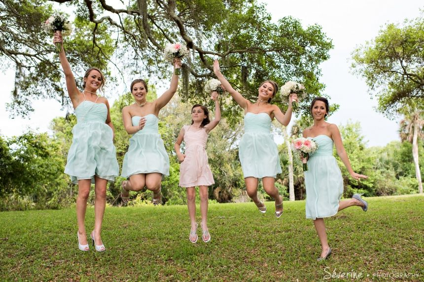 jumping teal bridal party