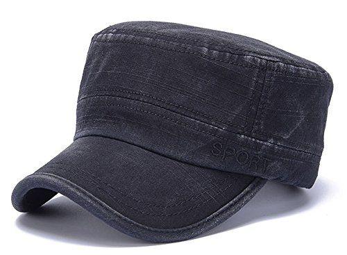 ChezAbbey Men s Washed Cotton Solid Brim Flat Top Cap Arm... https ... ceb5b828d789