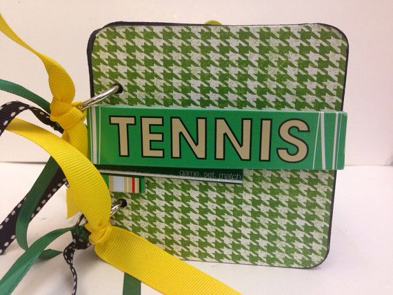 Tennis scrapbook chipboard premade pages brag book tennis anyone? on Etsy, $23.00
