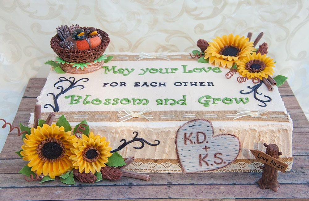 Rustic Themed Cake With Sunflowers And Birds Nest