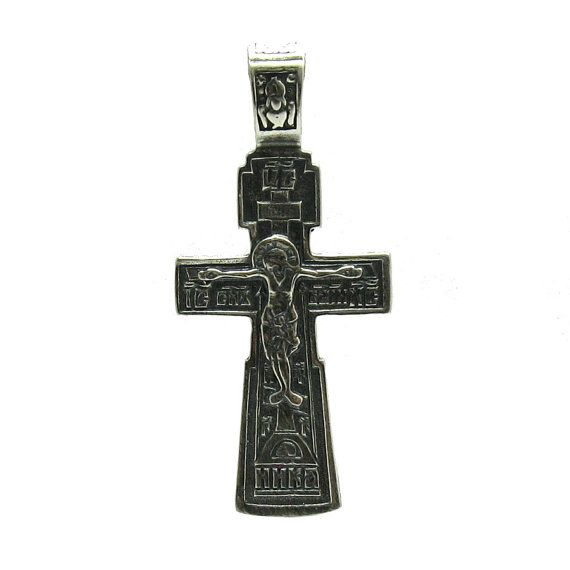 PE000962 Sterling silver pendant orthodox cross by EmpressSilver