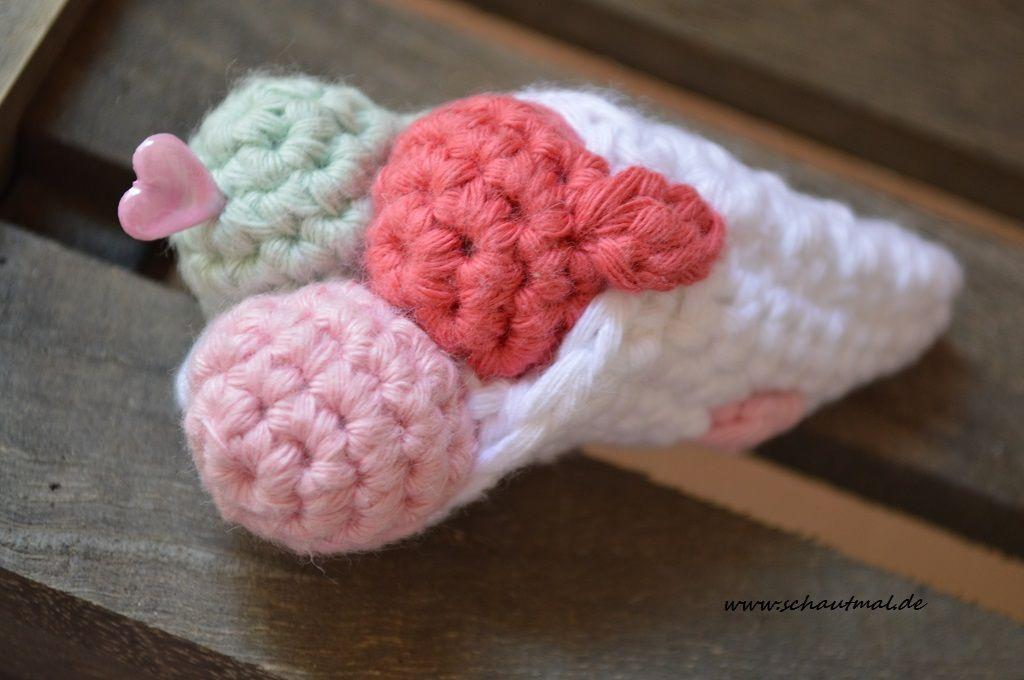 Gratis Anleitung für eine Eistüte auf schautmal.de #häkeln #crochet ...
