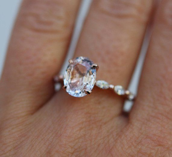 Oval Rose Gold Engagement Ring Peach sapphire engagement ring One of a kind ring Sapphire Engagement ring Godivah design by Eidelprecious  Oval Rose Gold Engagement Ring...