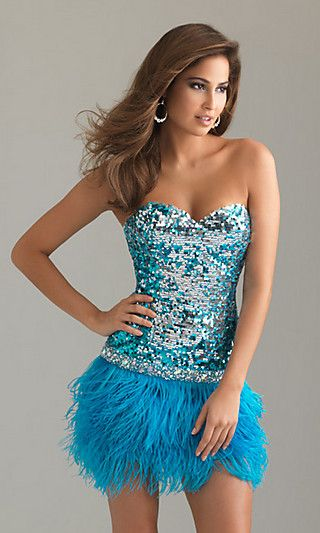 Night Moves by Allure 6748 aqua- silver short strapless sequin ...