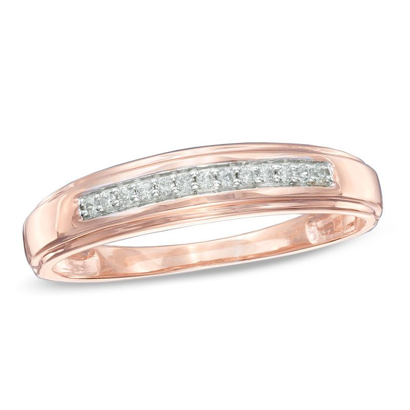 Men S 1 10 Ct T W Diamond Wedding Band In 10k Rose Gold Diamond Wedding Bands Rose Gold Wedding Bands