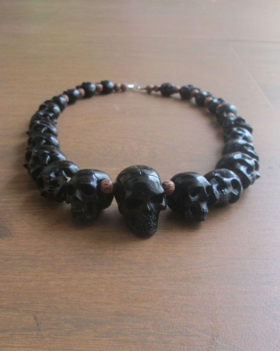 Carved Bone Skull Necklace In Buffalo Horn Skull Necklace Bone Carving Skull