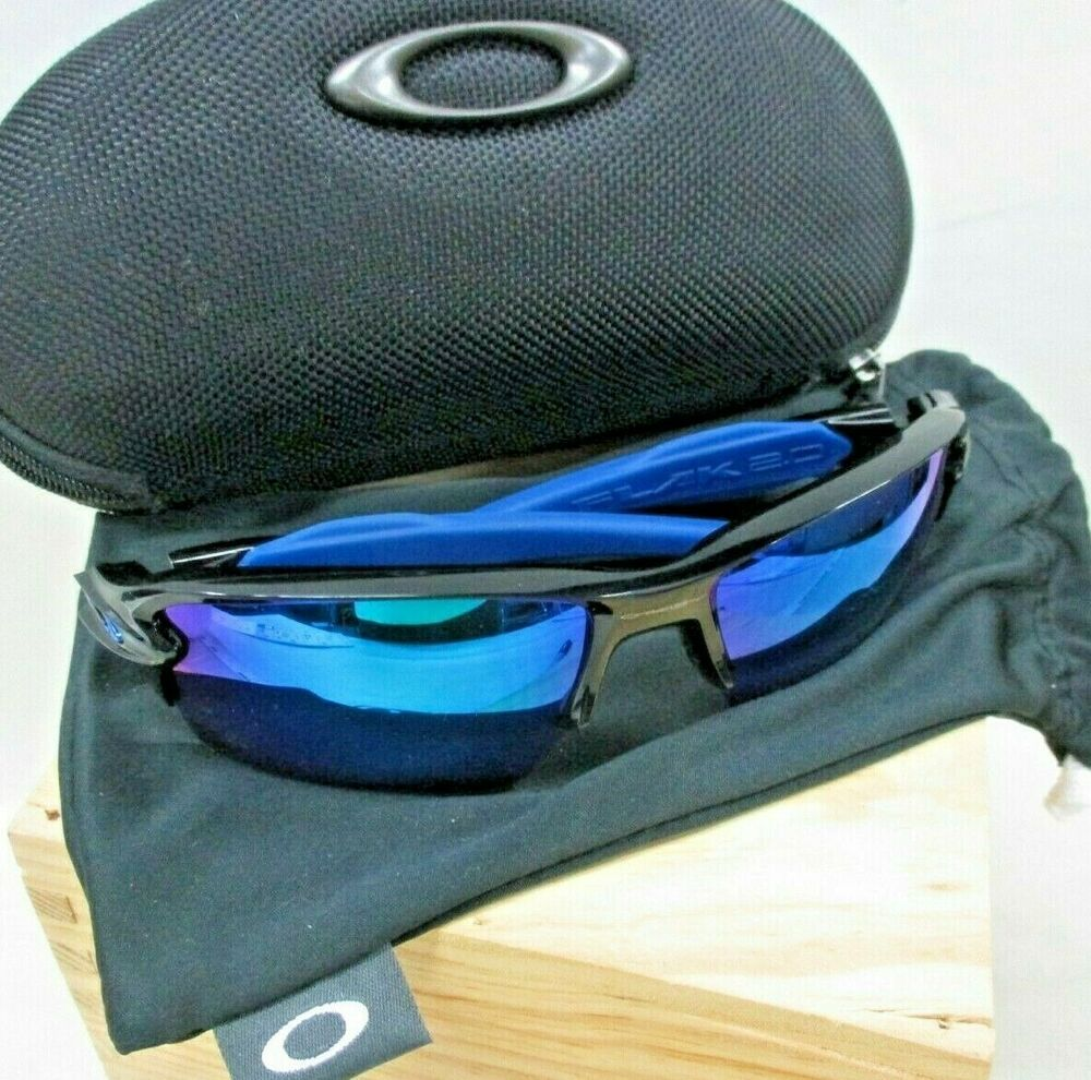 Oakley Flak 2 0 Black Blue Iridium Color Lens Oo9188 23 59mm L Xl Case Jb Fashion Clothing Shoes Accessories Mens Oakley Types Of Sunglasses Oakley Men