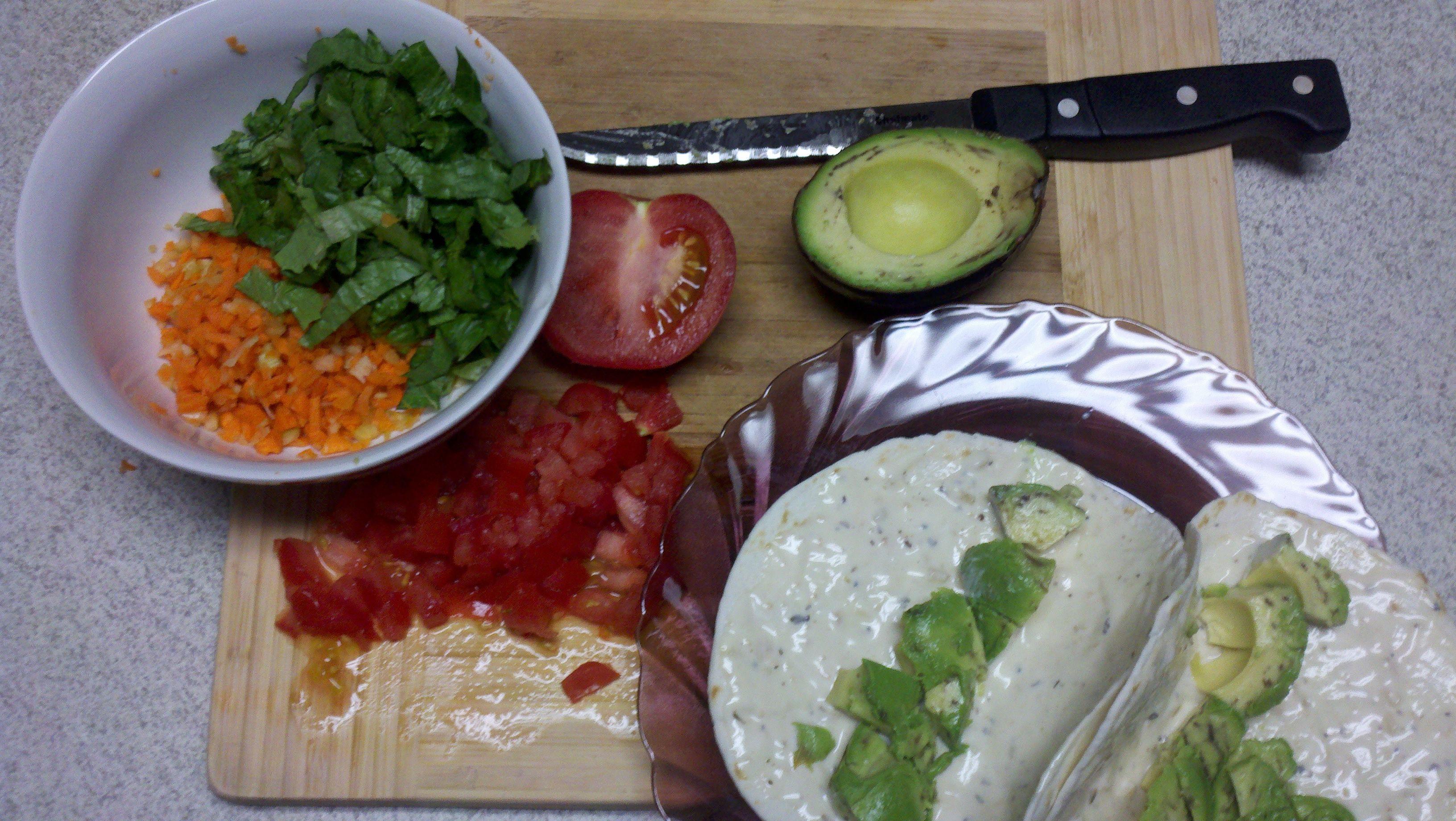 prepping vege wraps mmmm