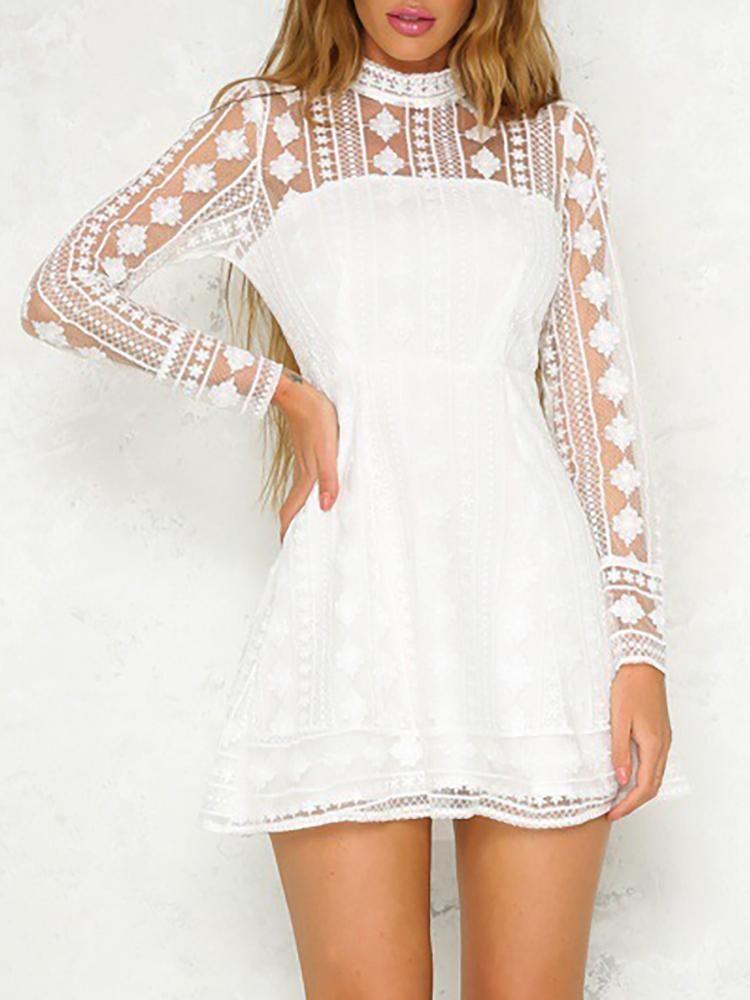 Lace Crochet Mesh Patchwork Keyhole Backless Dress White Long Sleeve Dress Mini Dress Fashion Long Sleeve Dress Winter