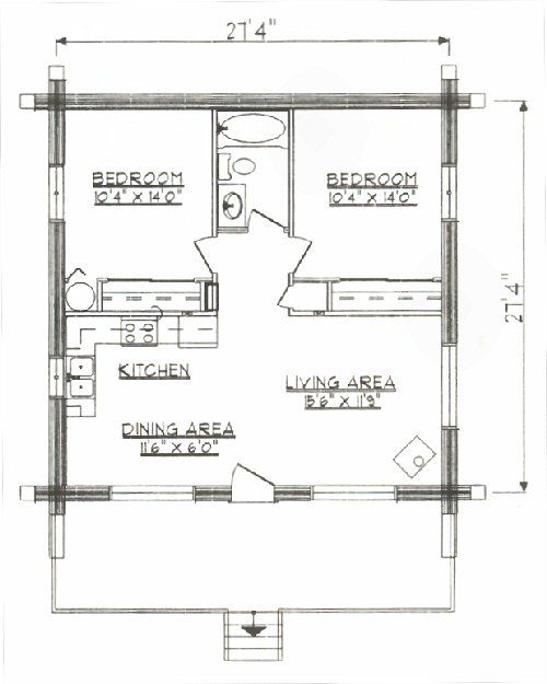 Log Home Floor Plan under 1000 square feet sq ft Small house