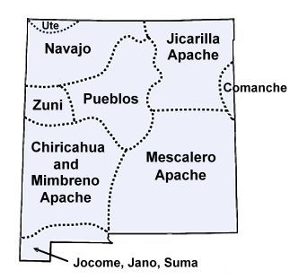 Pueblo New Mexico Map.Map Of New Mexico Tribes In The Past Native American New Mexico