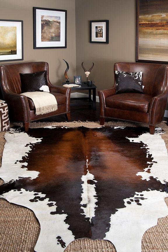 21 Masculine Rooms Interiorforlifecom Cow skin rug