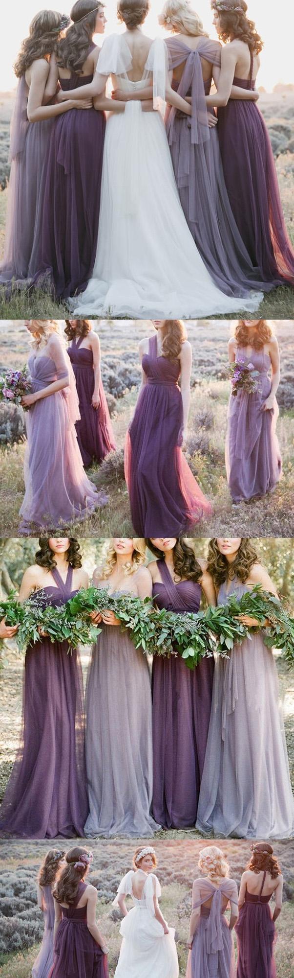 Customized sleeveless bridesmaid dress long purple bridesmaid