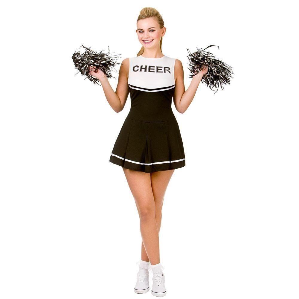 Ladies Black Cheerleader Costume Pom Poms Womens High School Prom Fancy Dress