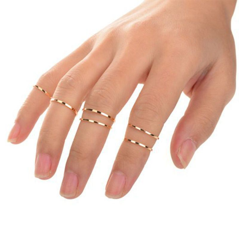 MID FINGER RINGS GOLD SILVER PLATED SMALL SIZES FASHION MIDI KUNCKLE ABOVE PUNK