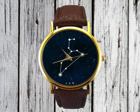 Leo Sternbild Watch Lion Leder-Watch Damenuhr von RedJuanShop