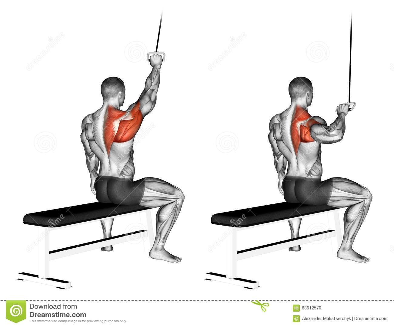 exercising  one handed lat pulldown