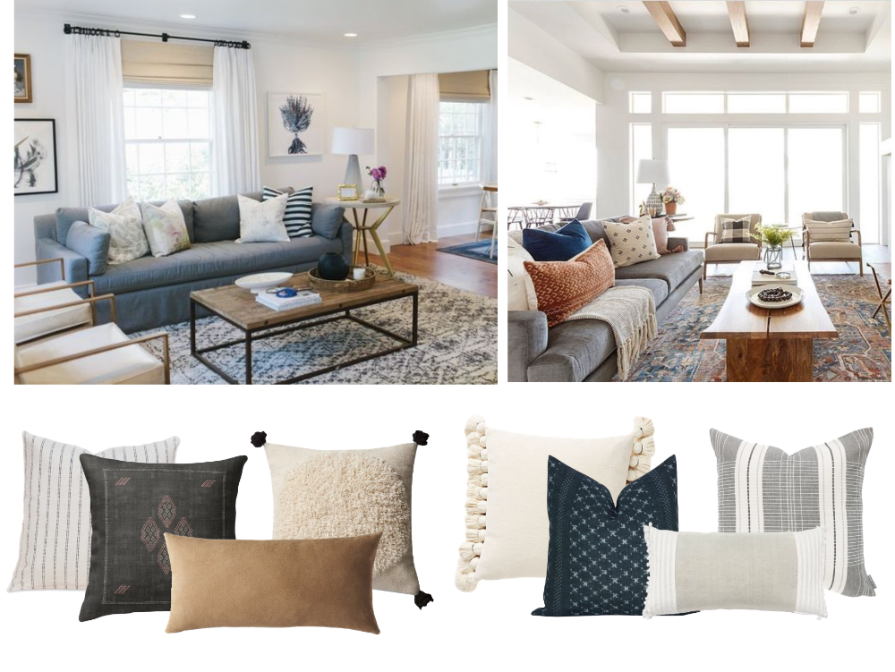 What throw pillows (and how many) should I use on my dark grey (with some blue undertones) couch? (The brown love seat is going away or getting a new cover)