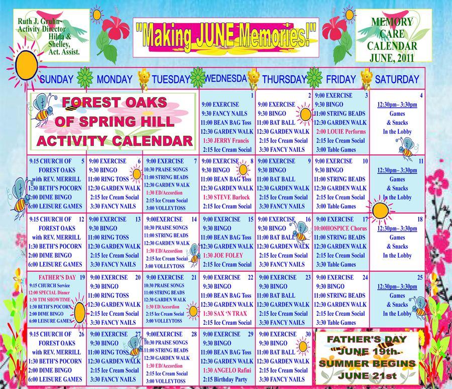 Memory Care Activity Calendar For June  Work    Activities