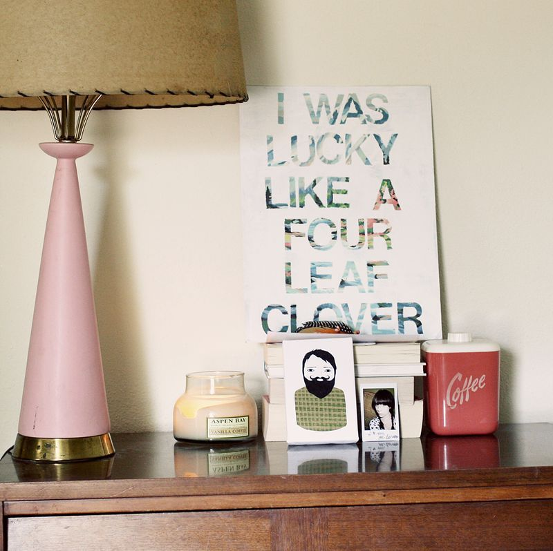 DIY Graphic Wall Art Made With Vinyl Letters on a Thrift Store