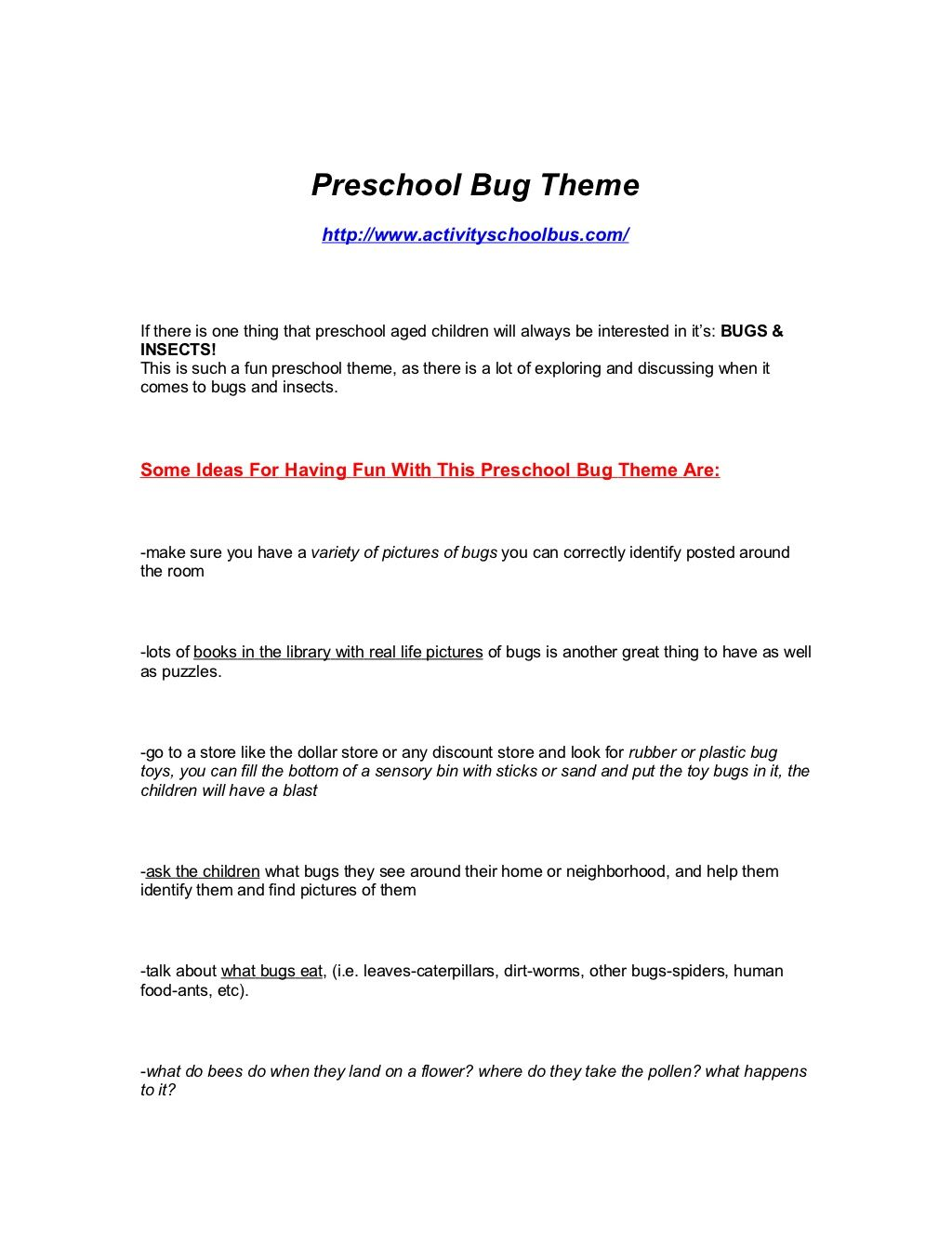 Pre K Bug Insect Theme For Preschoolers By Dane Robinson Via Slideshare