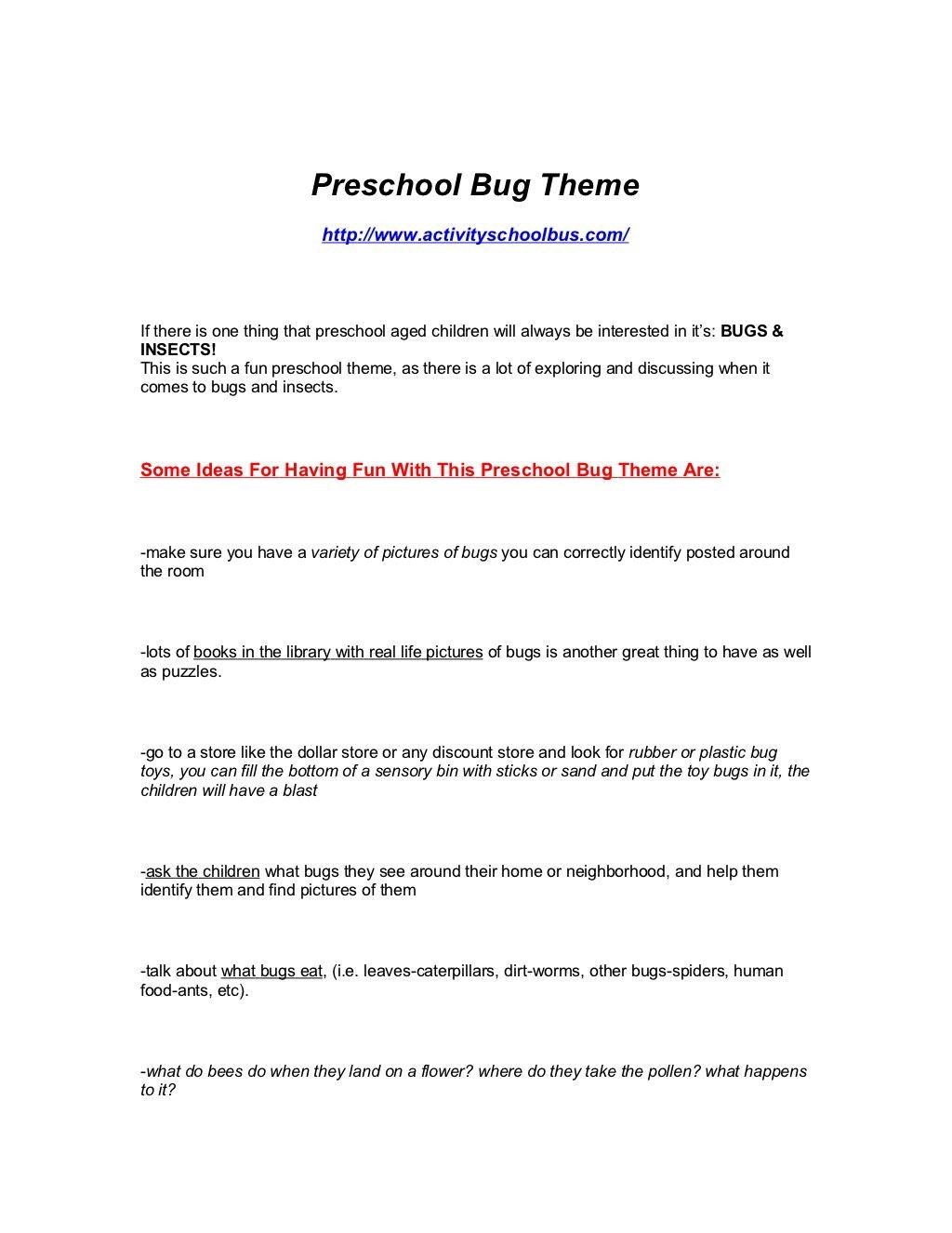 Pre K Bug Insect Theme For Preschoolers By Dane Robinson Via Slideshare