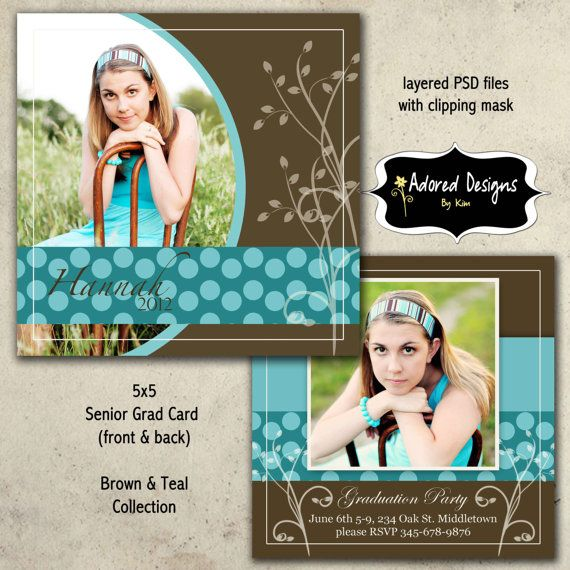 Instant Download Senior Card Photoshop Templates (Four Senior ...
