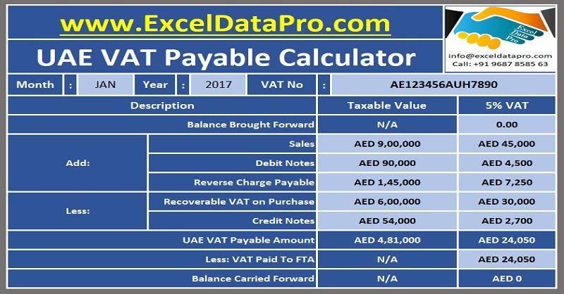 download uae vat payable calculator excel template uae vat