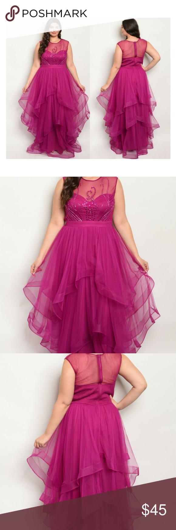 Photo of Magenta Gown Plus Size Fabric Content: 100% POLYESTER Description: Size 14W L: 5…