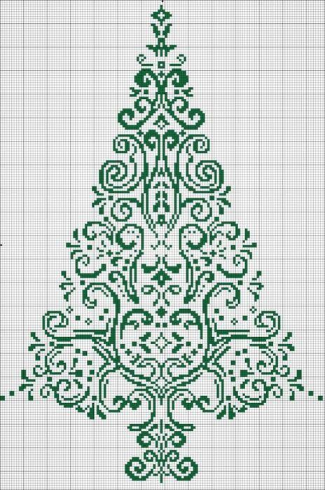 схемы по вышивке крестом елка