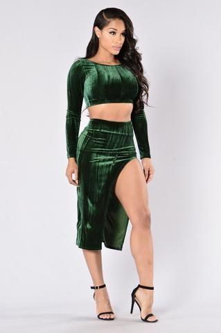 Say Something Skirt  - Dark Green