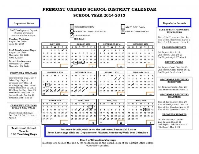 Fremont Unified School District Calendar Printable Calendar 2018
