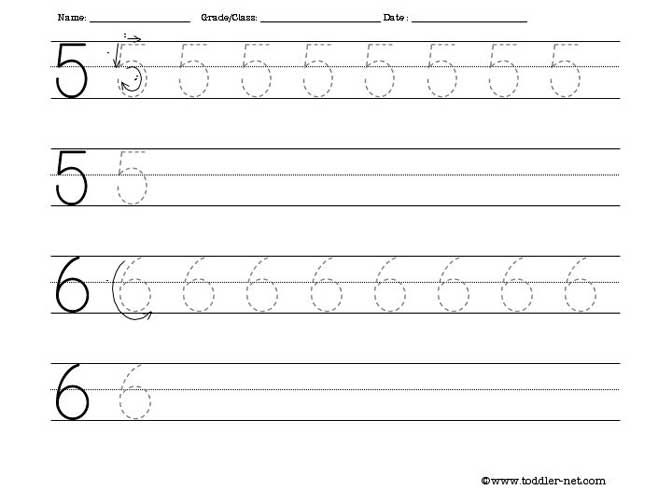 Tracing Numbers 5 And 6 Worksheet