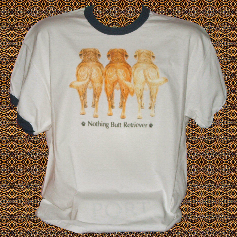 Nothing+Butt+Golden+Retriever+Dog+Cotton+Short+sleeve+Ringer+T-shirt