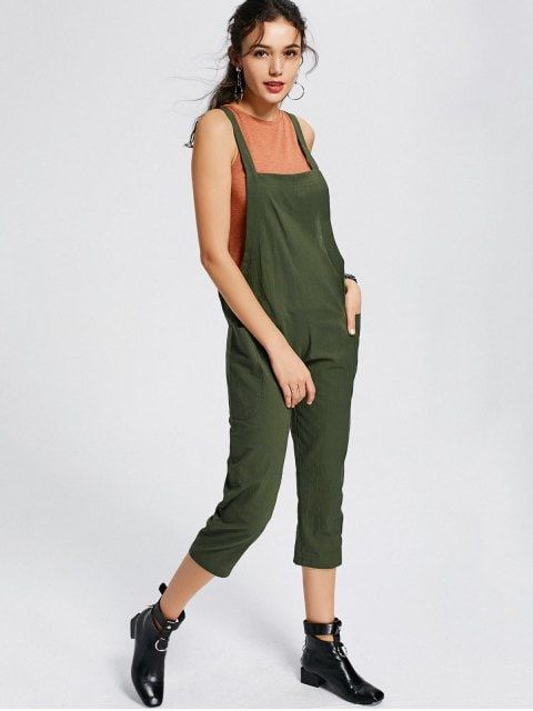 b0baab763d2 Shop for Square Collar Capri Jumpsuit with Pockets ARMY GREEN  Jumpsuits   amp  Rompers M