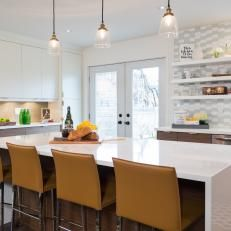 Eat In Kitchen Island Chair Pads Long With Mustard Yellow Bar Chairs And Trio Of Pendant Lights