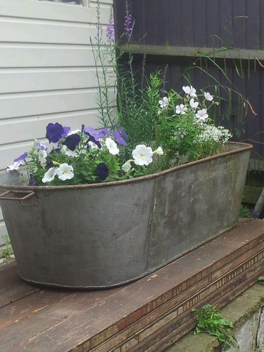 Galvanised Tin Bath Tub Trough Large Garden Pots Tin Bath Garden Planters Pots