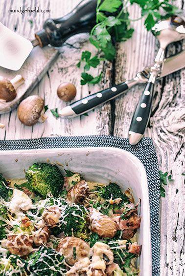 Schneller Brokkoliauflauf mit Champignons und Schinken | Rezept | Mundgefühl