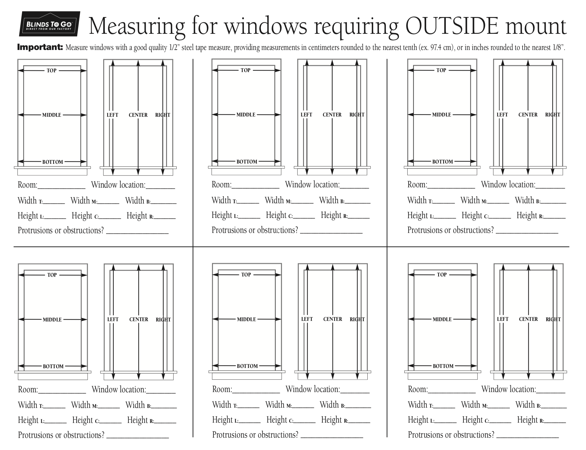Btg Outside Mount Measuring Guide How To Measure Yourself The Outsiders Window Treatments