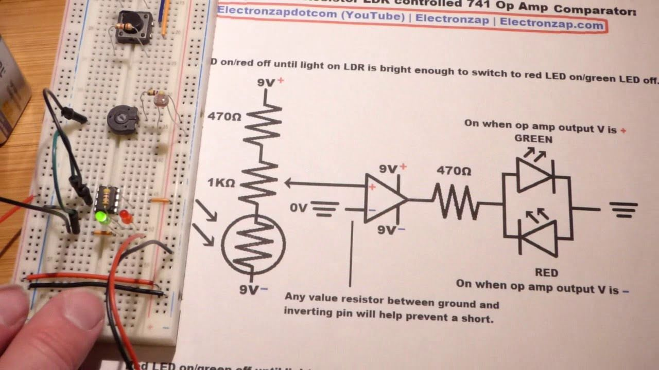 light dependent resistor ldr controlled non inverting 741 op amp compara  [ 1280 x 720 Pixel ]