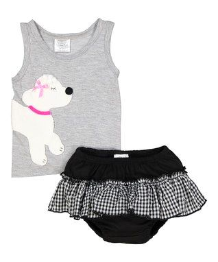 Silver Poodle Organic Tank & Black Bloomers - Infant & Toddler