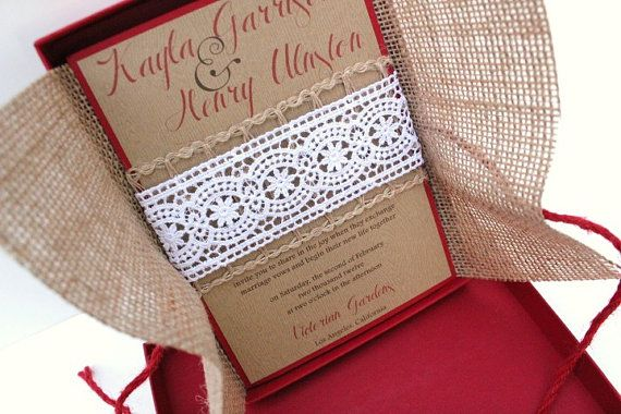 Wedding Invitations Burlap Lace with Red Accents and Box