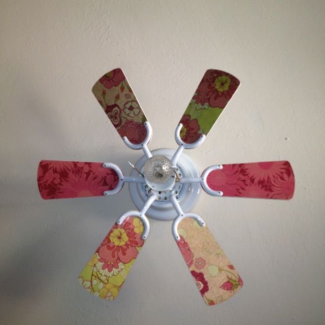 First summer project :) old ceiling fan made girlie. Modge podge plus scrapbook paper.