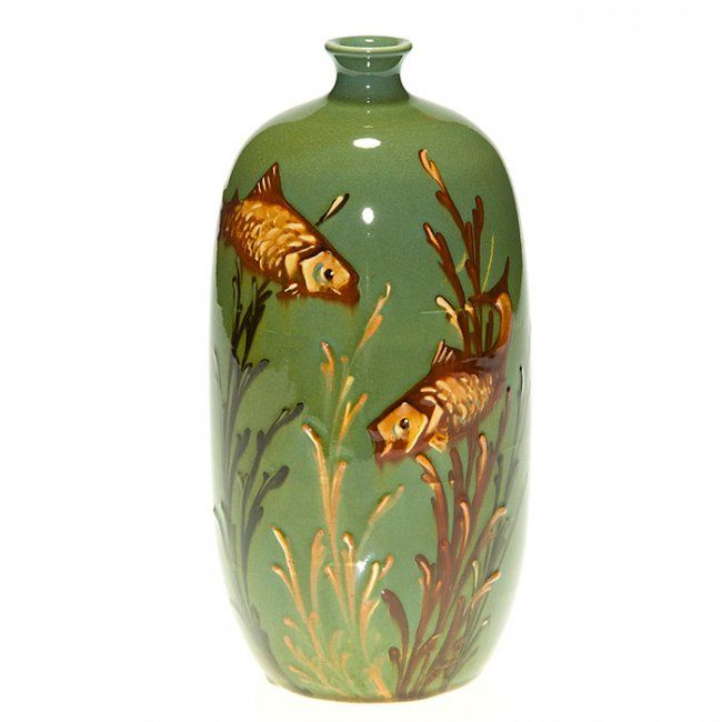 Decorated Fishing Urn Wardle Pottery 8 Inch Vase  Decorated With A Pair Of Fish And