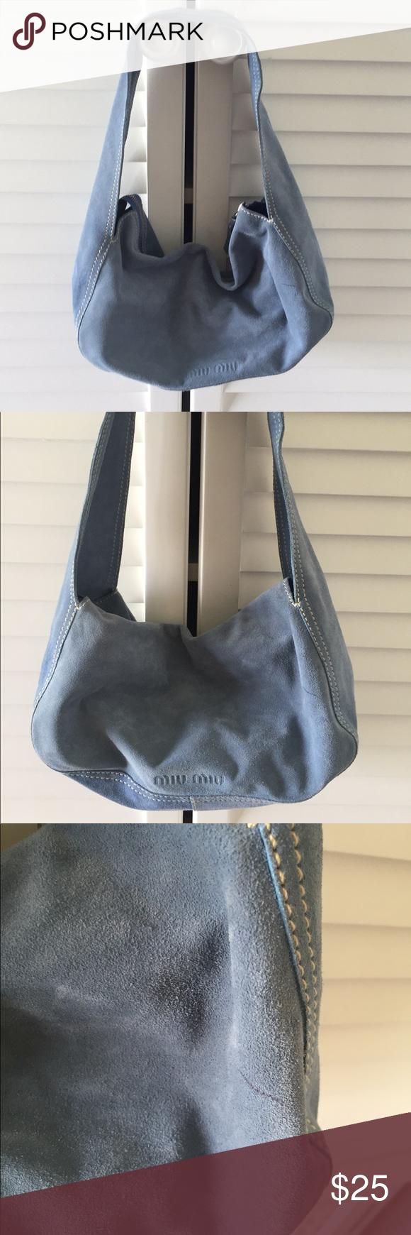 Miu Miu blue suede hobo shoulder bag small Italy Miu Miu blue sides small  shoulder bag. Zippered top and one zippered pocket inside. 3944bd3182